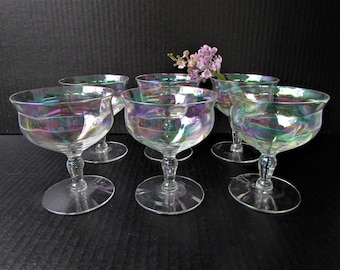 Set of 6 Iridescent Vintage Coupe Glasses or Tall Sherberts - Optic Iridescent Glass - Vintage Champagne - Cosmopolitan Craft Cocktail Glass