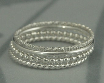 I'm Dreaming of a White Christmas Super Skinny Textured Silver Stack Rings--Set of 4--Round, Twist, Beaded and Tinsel--Silver Stacking Band