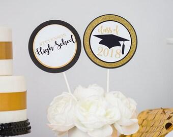 Graduation Party Centerpiece in Black Gold - Instant Download Graduation Centerpieces - Printable Graduation Table Decor by Printable Studio