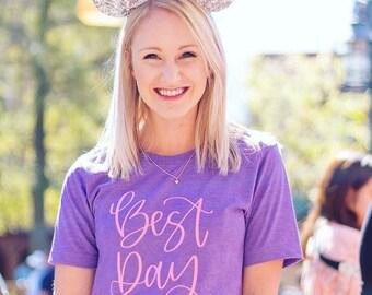 Best Day Ever Graphic T Shirt, Women's Unisex Triblend Tee, Disney Land, Disney World, Disney Rose Gold, Mickey, #disneylife