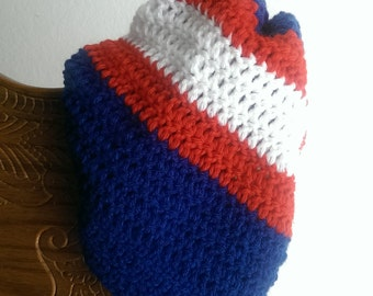Red, White &  Blue Crochet Slouchy Beanie ***FREE SHIPPING***