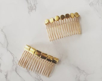 Geometric Modern Silver or Gold Hair Comb | Art Deco Bridal Accessories | Handmade Geometric Headpiece | Minimalist and Contemporary Style