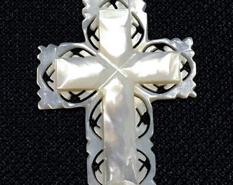 Vintage Hand Carved Mother of Pearl Cross from Bethlehem.