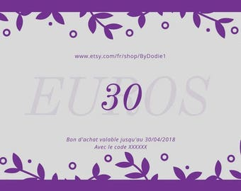 Purchase order/Gift Card/value 30 euros  on By Dodie Shop, Boho jewelry, By Dodie