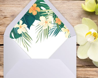 A7 Envelope Liner, Euro Flap, Tropical Wedding, Envelope liner, printable envelope, printable liner, liner template, diy printable, liners