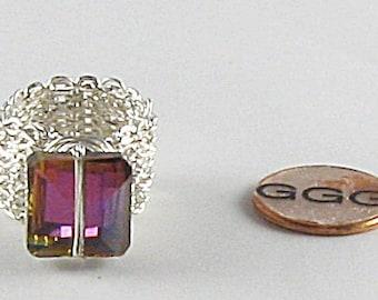 Ring - Silver Chain & Austrian Crystal Bead (R059)