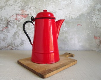 Enamel Coffee Pot Percolator , 1950s Huta Silesia Poland Red Enamel Coffee Pot , Farmhouse Kitchen , Rustic Cabin , Perked Campfire Coffee
