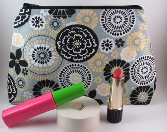 Cosmetic Bag, Small Makeup Bag, Zippered Pouch, Womens Toiletry Bag, Zippered Travel Bag, Mothers Day Gift Idea Under 20