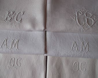 Bulk of 6 napkins beautiful old monogrammed