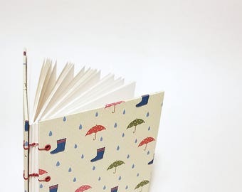 galoshes and umbrellas writing journal - raindrop journal - rain notebook - rainy day notebook - hand bound journal - cute umbrella notebook