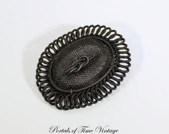 Antique Georgian Victorian Silesian Wirework Black Mesh Iron Brooch Mourning 19th Century