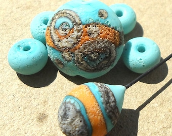 Handmade lampwork glass bead lampwork headpin lampwork glass bead spacer set