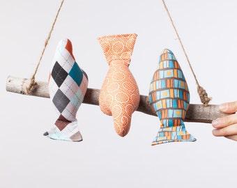 Bird Mobile ~ Bird Swing ~ Natural Bird Mobile ~ Colorful Bird Mobile ~ 3 Birds on a Branch ~ 3 little birds ~ Customizable Bird Mobile