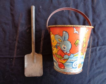 Vintage Tin Litho Sand Pail With Shovel - Made in England - 1930