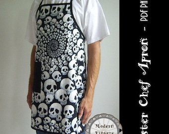 PDF Sewing Pattern and Tutorial Men's Full Apron in 3 Sizes  - The MASTER CHEF - Instant Download Sewing Pattern #105