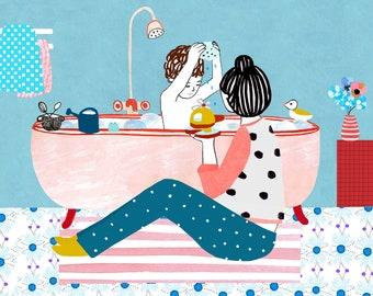 Illustration print - Bathtime