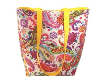 Paisley Tote Bag, Floral Cloth Purse, Handmade Purse, Yellow, Orange, Pink, Purple, Shoulder Bag, Fabric Handbag