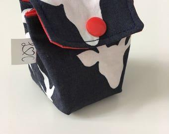 Bag has pacifier deer in blue hues