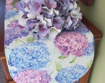 "36"" Blue Purple Hydrangea Table Runner Reversible Shabby Chic Table Runner Lavender Runner Hydrangea Table Decor Hydrangea Dresser Scarf"