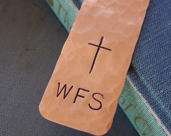 Cross Bookmark, Monogram Bookmark, Custom Hand Stamped, Bible Marker, Religious Gifts, Teen Religious,First Communion Gift,Confirmation Gift