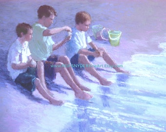Beach print 5x7 three boys at the seashore, children playing at the shore, blue, green, purple, buckets, sand, water's edge, lavender,