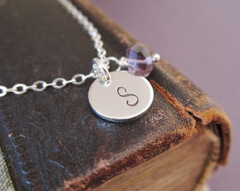 Personalized initial necklace, February birthstone necklace, light purple amethyst, custom silver initial, sterling silver monogram