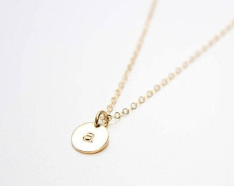 initial necklace, hand stamped initial necklace, personalized initial necklace, gold initial necklace, 14k gold filled initial necklace