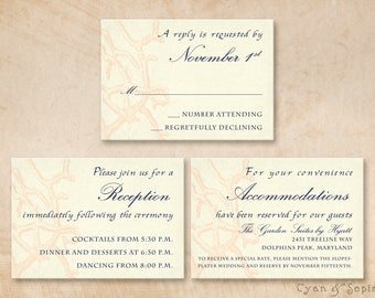Printable Wedding Enclosure Cards - 3.5x5 - Antique Coral - Beach Shabby Chic Cottage Vintage Nautical Ocean - Coral Navy Cream