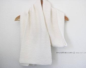 super soft hand knit scarf | knit garter scarf | knit white scarf || hand knit shawl | knit wrap -nature white 9.5 x 73.5''