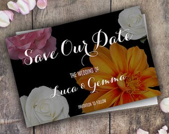 Save The Date Invitations Cards / Printable Wedding Invite / Floral Vintage / Personalised Minimal / Marriage / PDF Digital