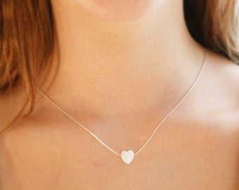 white opal necklace, heart necklace, heart opal necklace , white opal, luck necklace, gold filled necklace, opal jewelry,Gift for her