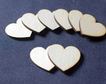 100 Laser Cut Birch Wooden Hearts 2 Inch Great for Wedding Guest Books.