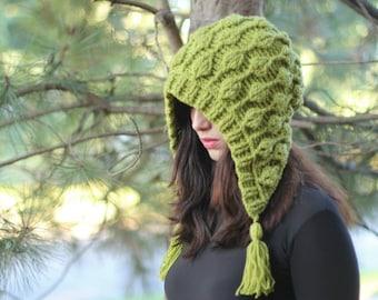 NEW CROCHET PATTERN - Embossed Leaves Hooded Hat, hood, had (adult sizes) 3D leaves, embossed leaves