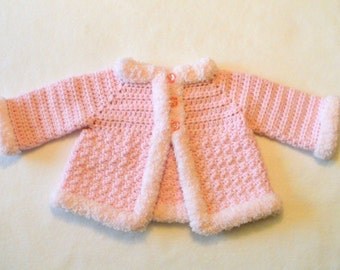 Crocheted Baby Girl's Sweater Baby Jacket Crocheted Baby Jacket Baby Girl's Crocheted Sweater Pink Baby Sweater with Pink Furry Trim