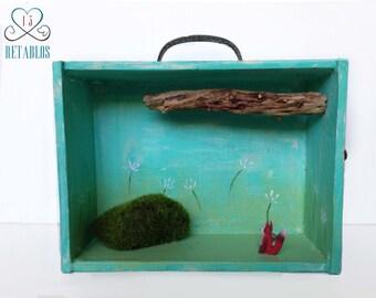 Retablo Folk Art Shadow Box - Proceeds Benefits Animal Rescue, OOAK Nicho, Fox in Woods Diorama, Fox & Cairn 3D Art Piece, Mossy Rocks