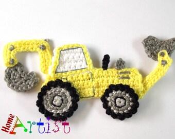 Crochet Applique backhoe