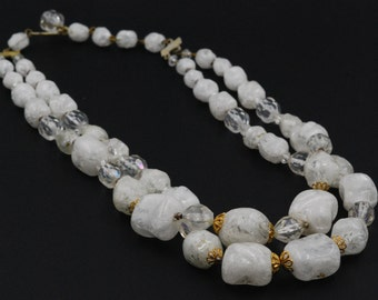 Simulated White Quartz Nugget Stone Bead Necklace with Gold Tone Accents, Hook Clasp