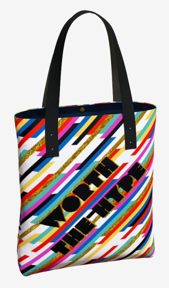 Worth The Hype Stripe Premium Tote Bag