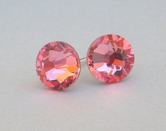 Rose Peach Swarovski post earrings, 7mm pink peach crystal studs