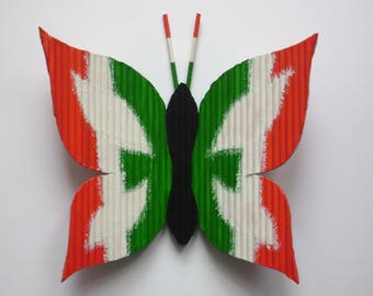 """Butterfly """"Italia h 13 x 13"""" with toothpicks and hand painted"""