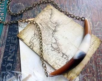 horn necklace, tortoise shell jewelry, primitive, tribal style jewelry, boho, southwestern, cowgirl, desert, tusk