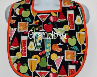 Funny Cocktail Adult Bib, Custom Personalized Birthday Gag Prank Gift, With Name, Makeup Clothing Protector, Ships TODAY, AGFT 447