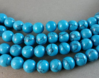 3 Full strands 8mm  turquoise   round   beads wholesale for exclusive jewelry