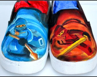Ninja Shoes, Boys Shoes, Painted Shoes for Boys, Ninjas, Boys Ninja Shoes, Unique Gift For Boys, Boy Gift, Boys Shoes - FAST SHIP!
