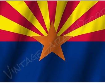 Arizona State Flag on a Metal Sign