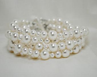 Pearl Bridal Bracelet, White Pearl Bracelet, Cuff Style Bracelet, Wedding Bracelet, Thick Bracelet, Swarovski Pearls, Multi Strand Bracelet