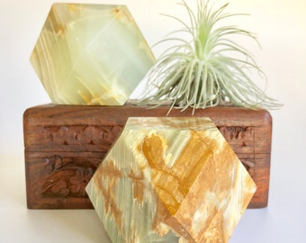 vintage onyx geometric paperweight; onyx bookend; green onyx sculpture