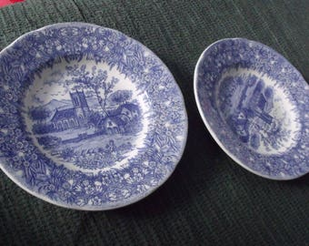 Vintage  two blue design soup bowls...similar to Blue Willow