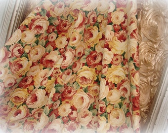 "bed of roses 2 yards 10"" cotton decorator fabric . heavyweight printed floral fabric"