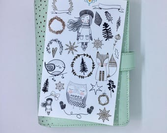Winter girl decorative planner stickers, black and white stickers, Christmas stickers, scrapbooking, journalling, deco stickers